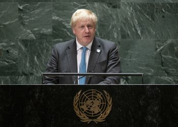 British Prime Minister Boris Johnson addresses the 76th Session of the United Nations General Assembly, Wednesday, Sept. 22, 2021, at U.N. headquarters. (Eduardo Munoz/Pool Photo via AP)